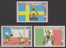 BRAZIL - 1970 3rd Victory in World Cup Football (3v) UM / MNH*