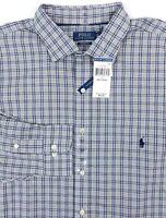 POLO RALPH LAUREN Performance Men 2XLT TALL Navy Blue Plaid L/S Button Shirt NEW