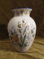 Vase faience de Nevers Jean Montagnon 23,9cm décor floral