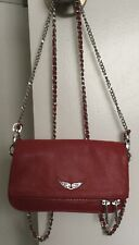 ZADIG AND VOLTAIRE Rock nano Red Grained Leather Chain Strap Zip Shoulder Bag S