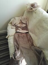Mother of  bride three piece suit with hat size 10 used immaculate condition