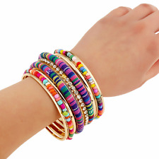 Ethnic Women Colorful Fabric Bangle Seed Beads Crystal Cuff Multilayers Bracelet