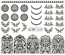 Nail Art Stickers Water Decals Transfers Black Designs Geo Aztec (BN1233)