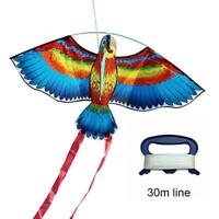 BULE NEW Kites For Kids Children Lovely Cartoon Parrot Flying Lines With J7M5