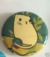 YARN KNITTING CAT BUTTON PIN HELPS FEED VET RESCUED KITTENS CAT DONATION