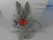 Signed KJL Kenneth Jay Lane Lite Rose Pave Crystal Dragonfly Pin / Brooch 3 1/2""