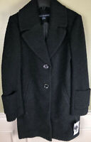 SS-2 French Connection Womens Wool Pea Coat BLACK size 2 new