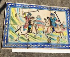A Set of 6 Rare Old Persian Ceramic Tiles depicting Polo Good condition