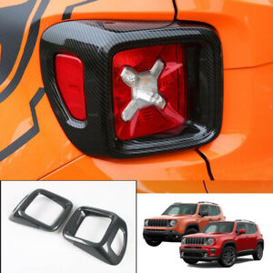Fit For 2015-2020 Jeep Renegade ABS Carbon Fiber Rear Tail Light Lamp Cover Trim