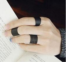 3 PCS Punk Fashion Ring Set Black Stack Plain Above Knuckle Ring Band Midi Rings