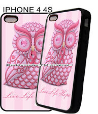 For Apple IPhone 4s 5s 7 Pink Owl Breast Cancer Ribbon Phone Case Cover 11