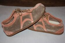 9 Camper Ladies Shoes Lace Up Sneakers Peach Brown Suede Driver Shoes Leather 39