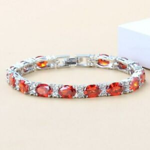 Mexican Fire Opal and Diamonds Tennis Bracelet 14K White Gold-Filled / Oval-Cut