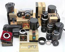 vintage camera Olympus Pen F / Pen Ft & 4x Zuiko lens 40, 90, 150, 200 mm & more