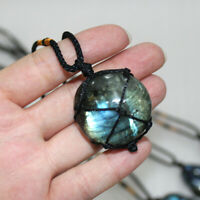 Wrap Women Mens Natural Stone Necklace Labradorite Pendant Crystal Moonstone