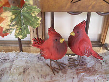 "Set 2 NWT 4"" Rustic RED CARDINAL Bird Faux Wood Fall Christmas ORNAMENT Decor"