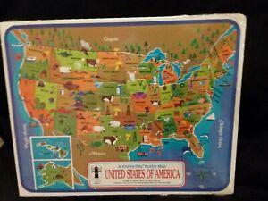 Vintage 1968 Golden U.S. Map Frame Tray Puzzle Sealed