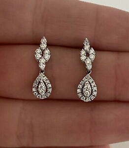 18ct White Gold Diamond Drop Dangly Earrings (boxed) 18K 750.