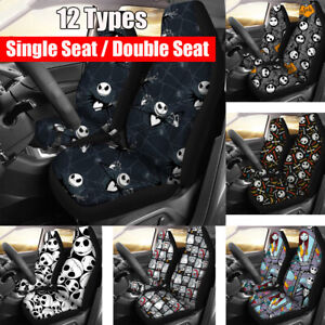 2pcs Universal Car Front Seat Cover Auto Cushion Protector Skull Print