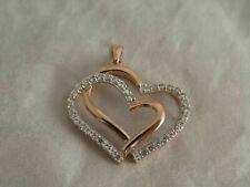 Vermeil Sterling Silver Large CZ Double Heart Pendant