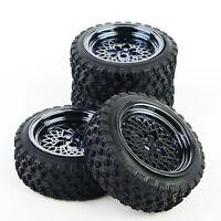 4 Pcs RC 1:10 Off Road Car Rubber Tires Wheel Rim Rally Racing  For HSP HPI