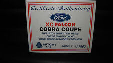 BIANTE 1/18 COA CERTIFICATE OF AUTHENTICITY FORD XC FALCON COBRA COUPE