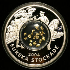 *2004 Perth Mint $1 Eureka Stockade Silver Proof 999 Coin, Aus Gold Nuggets BU*