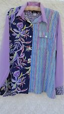 Koos Silk Blouse Misses L 100% Silk Teal Green Blue Multi Color Pocket MINT