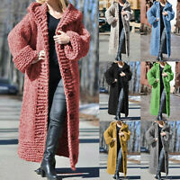 Women Long Sleeve Knitted Cardigan Hooded Sweatshirt Jumper Jacket Coat Longline
