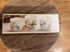 New-3-Lenox Butterfly Meadow Scalloped Votive Candle Holders-Louise Le Luyer