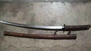 Collectable Japanese Samurai Sword Katana Signed Sharp Blade Oxhide Scabbard