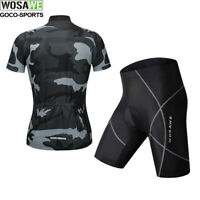 Mens Short Sleeve Cycling Clothing Road Bike Jersey Padded Shorts Set Breathable