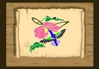 Hummingbird with Hibiscus Flower Stencil 350 micron Mylar not thin stuff#Bird030
