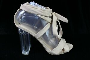 Wild Diva Loung Clear Heel Gladiator Ribbon Straps Cream Color Shoes