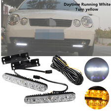 Universal Car 6 LED DRL Daytime Running Light Daylight w/ Amber Turn Signal Lamp