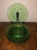 Vintage Depression Glass Green Swirl Lunch Plate Salad Plate