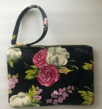Betsey Johnson Floral Wristlet Navy Blue Faux Leather Cosmetic Bag NEW
