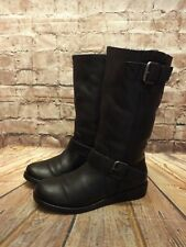 Womens Next Black Leather Fur Lined Pull On Biker Style Boots UK 5 EU 38