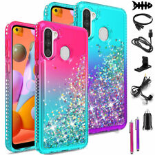 For Samsung Galaxy A11 Shockproof Case Liquid Glitter Bling Cover + Accessories