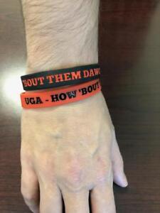 "Georgia Bulldogs Wristbands Bracelets NCAA "" HOW 'BOUT THEM DAWGS!!! "" Set of 2"