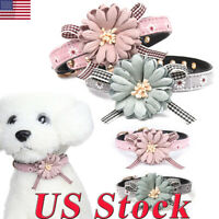 Adjustable Lovely Flower Bowknot Leather Pet Dog Collar Cat Bow tie Neck Strap