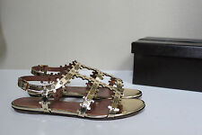 New 9.5 / 39.5 Azzedine Alaia Gold Leather Gladiator Ankle Sandal Flat Shoes