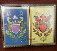 Vintage Playing Cards-Plastic Coated-Heines House--Royale--2 decks-plastic case