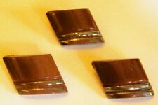3 vtge Art Deco brown glass buttons with 2 silver lustred bars 18 mm by 15 mm