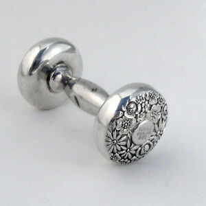 Contessina Baby Rattle Dumbbell Form Towle Sterling Silver 1965