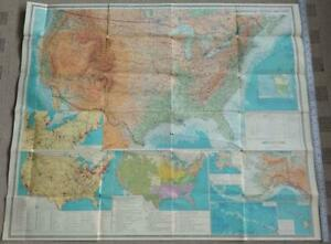 """Set Russian Topographic Map USA Cold War 37x31"""" Soviet Vintage Moscow 1979"""