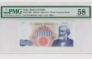 1963 -64 ITALY 1000 lire PMG58 Almost UNC @ P-96b