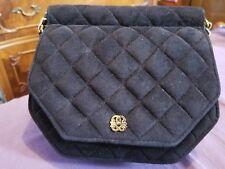 Maryann Rosenfeld Quilted Suede Crossbody Black Gold Designer Shoulderbag Bag