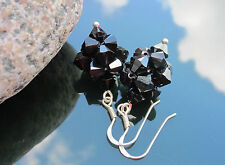 Crystal Bicone Black 6mm Large 925 SILVER EARRINGS made with SWAROVSKI ELEMENTS