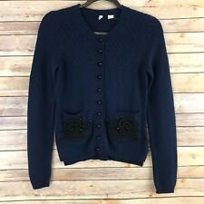 Moth Anthropologie Women Sweater Stitched Snail Cardigan Cotton Knit Feminine XS